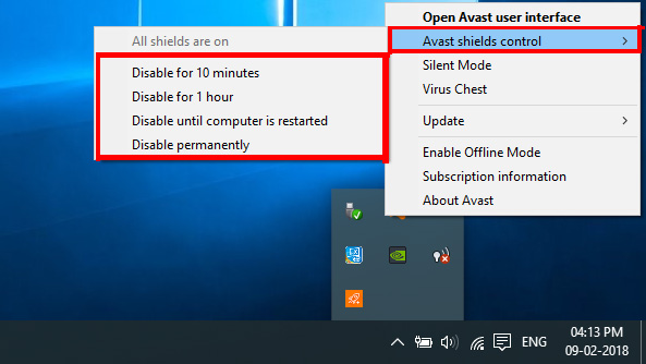 Disable avast antivirus