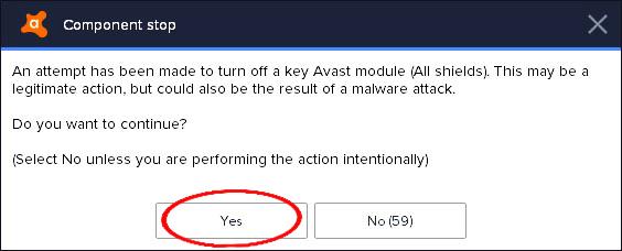 turn off avast antivirus