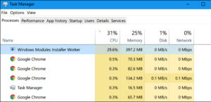 Windows Modules Installer Worker High CPU or High Disk Usage