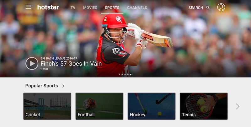 Hotstar - Best Sports Streaming Sites