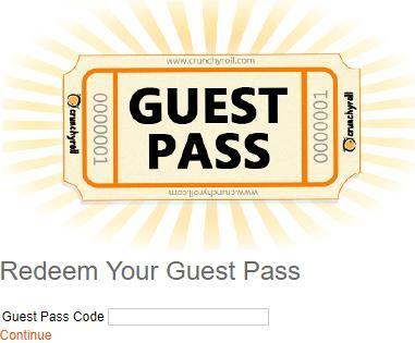 crunchyroll guest pass codes