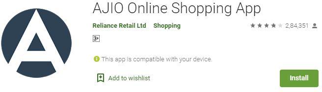 Ajio online shopping app for Windows