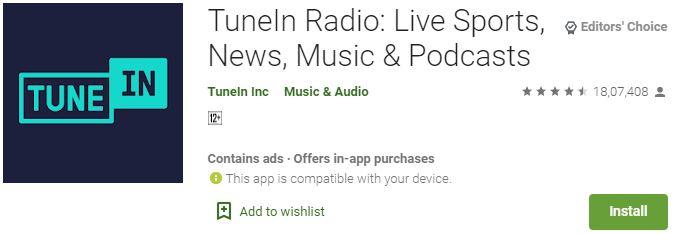 TuneIn Radio For Windows PC