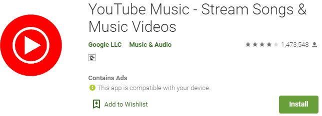 YouTube music app download for PC