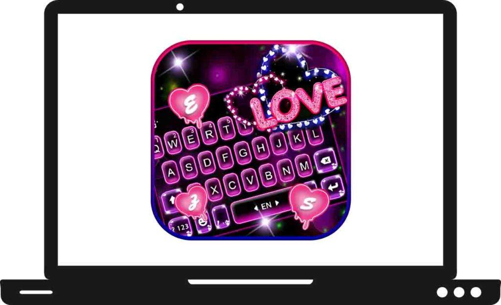 Download Neon Love Keyboard ThemeFor PC