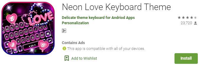 Download Neon Love Keyboard ThemeFor Windows