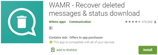 Download WAMR - Recover deleted messages & status For Windows