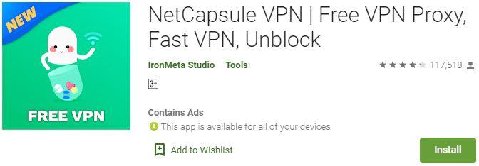 NetCapsule VPN APK for PC