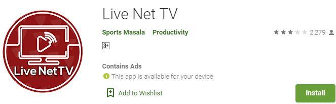 Download Live Net TV For Windows
